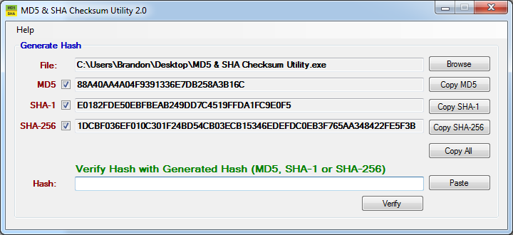 How to verify MD5, SHA1, and SHA256 Checksum on Windows