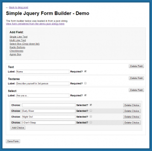 Simple Jquery Form Builder Demo